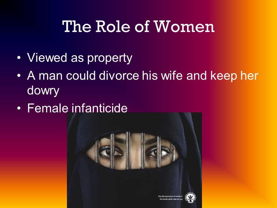 The Role of Women Viewed as property