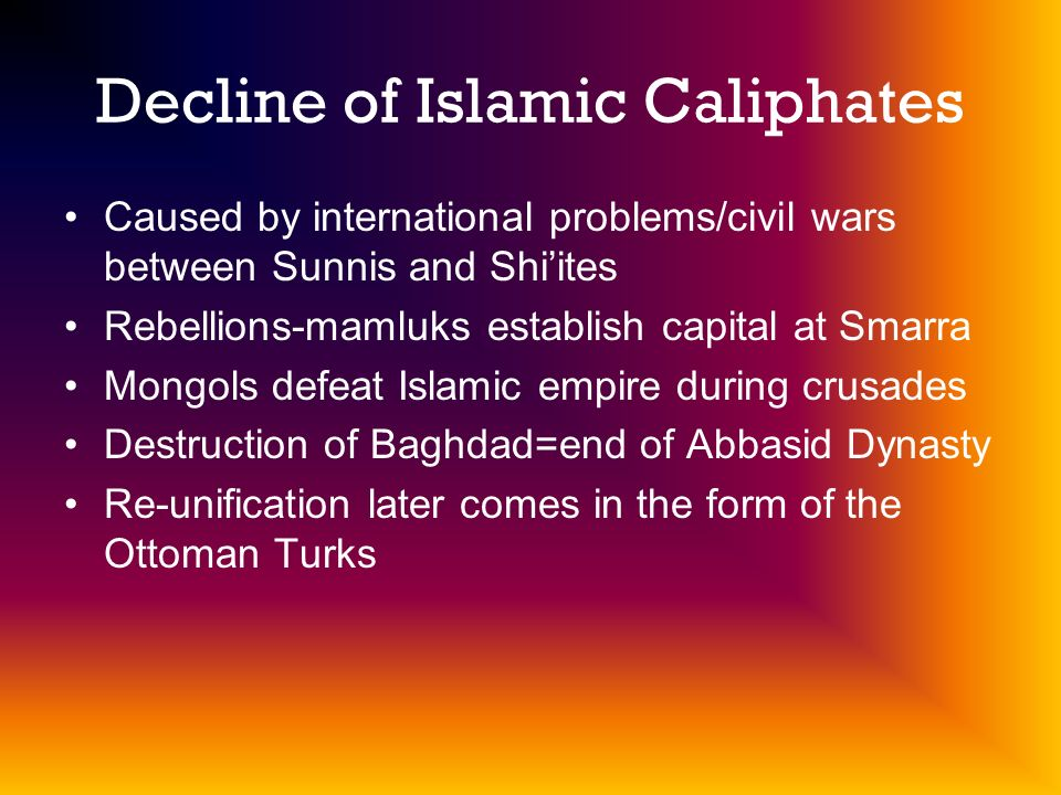 Decline of Islamic Caliphates