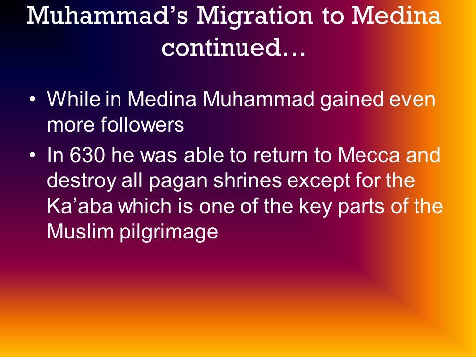 Muhammad's Migration to Medina continued…