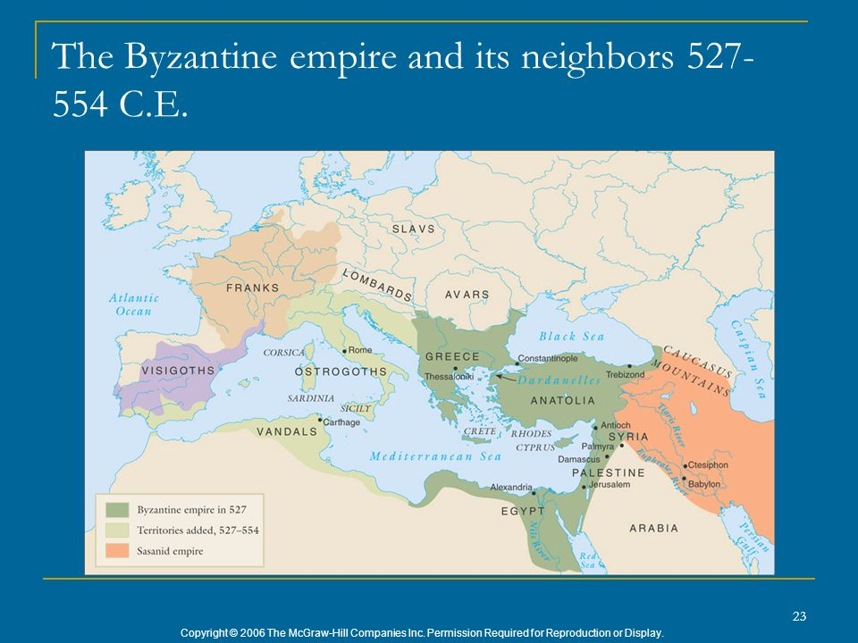 The Byzantine empire and its neighbors 527-554 C.E.