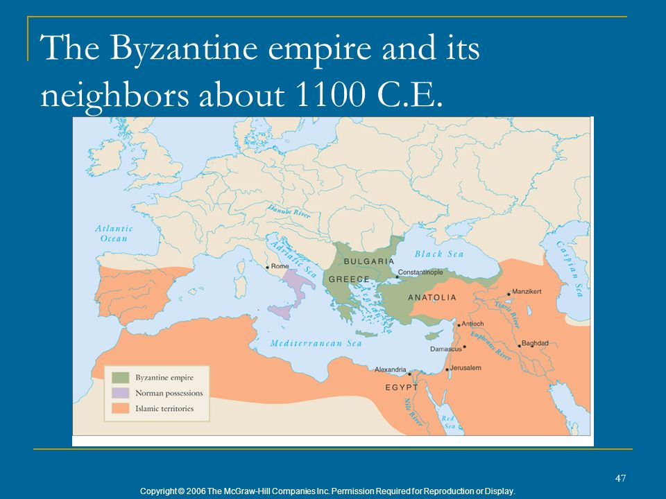 The Byzantine empire and its neighbors about 1100 C.E.
