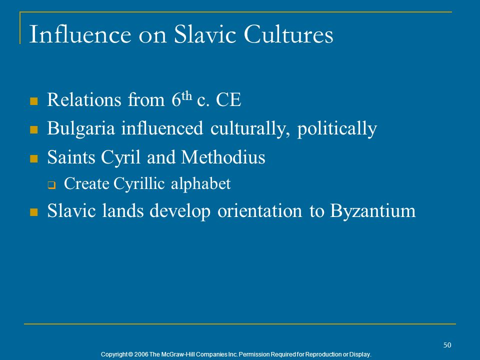 Influence on Slavic Cultures