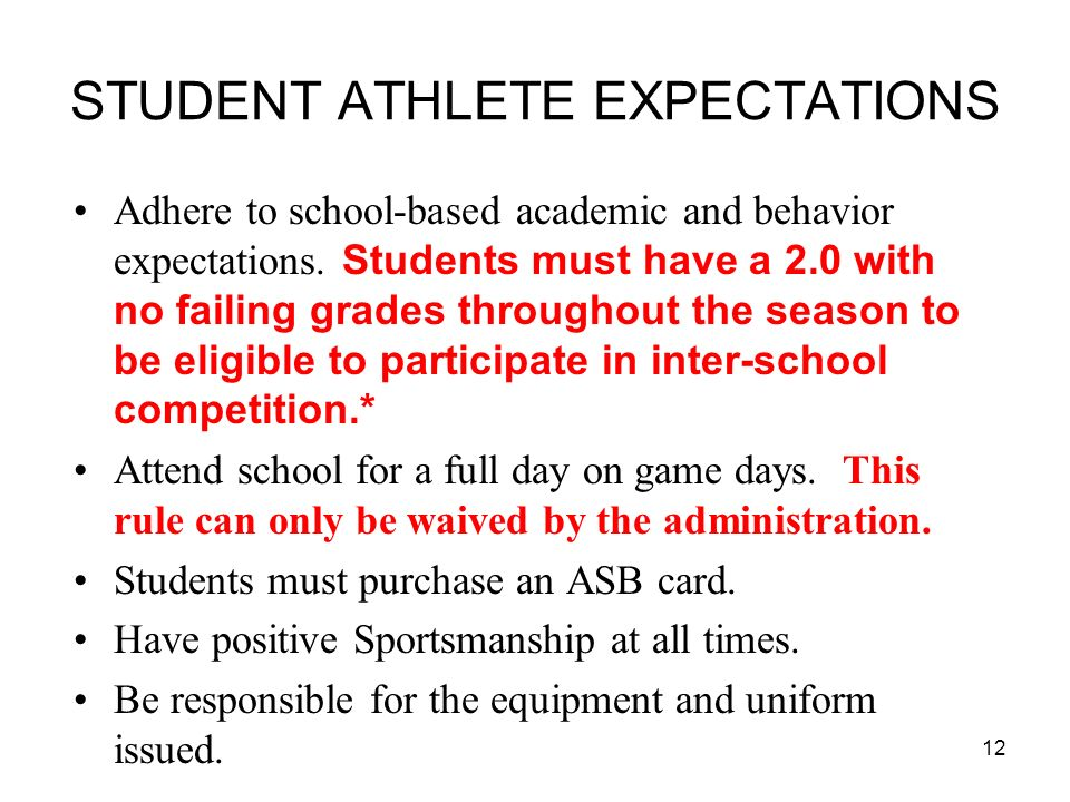 STUDENT ATHLETE EXPECTATIONS