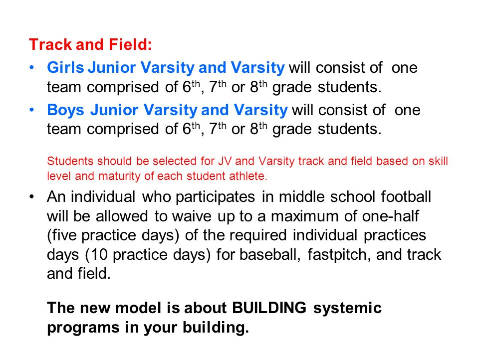 Track and Field: Girls Junior Varsity and Varsity will consist of one team comprised of 6th, 7th or 8th grade students.