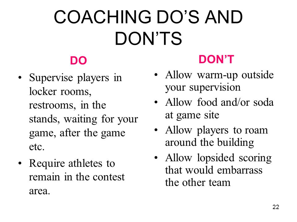 COACHING DO'S AND DON'TS