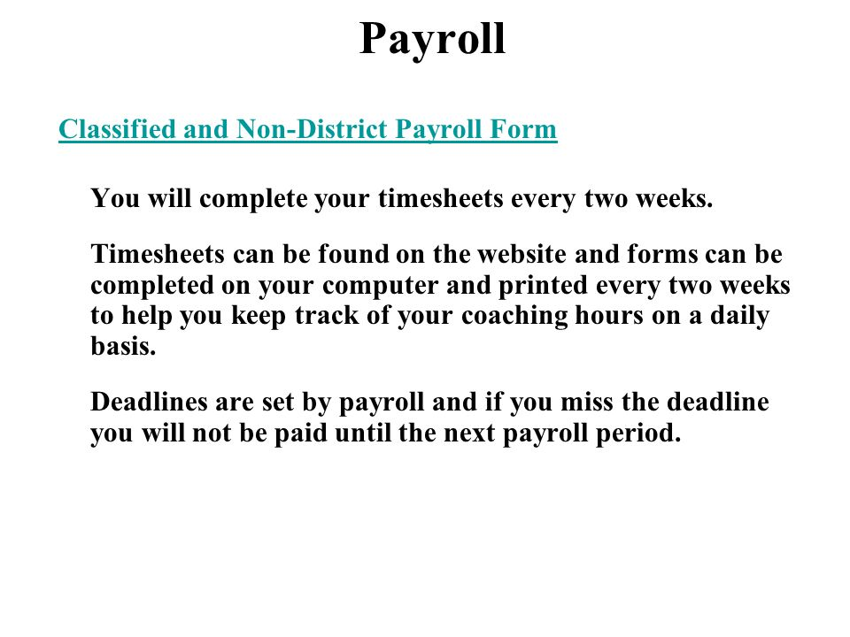 Payroll Classified and Non-District Payroll Form