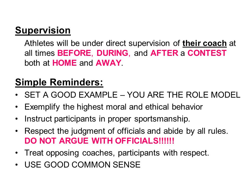 Supervision Simple Reminders: