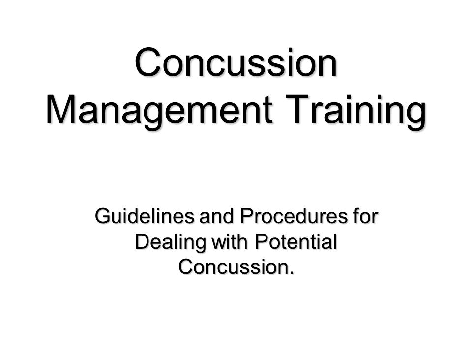 Concussion Management Training