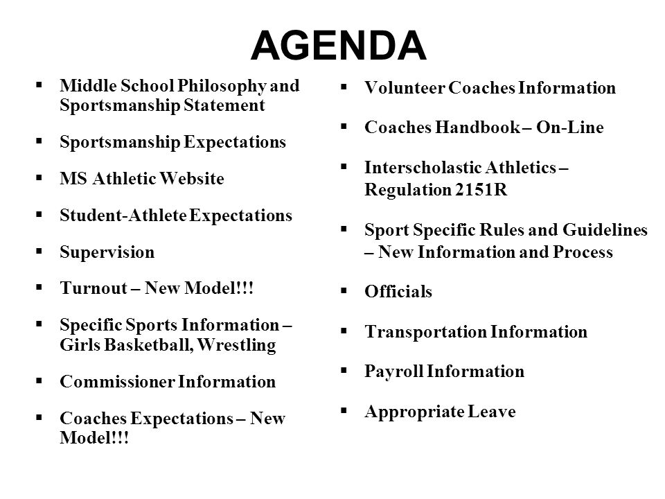 AGENDA Middle School Philosophy and Sportsmanship Statement