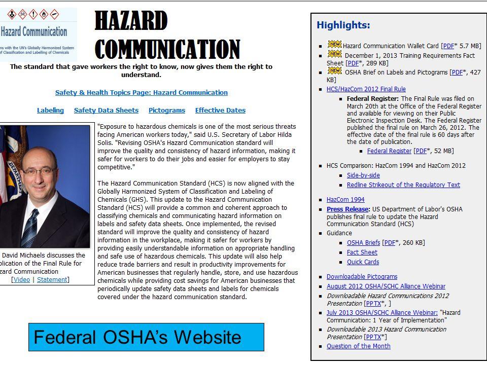 Federal OSHA's Website