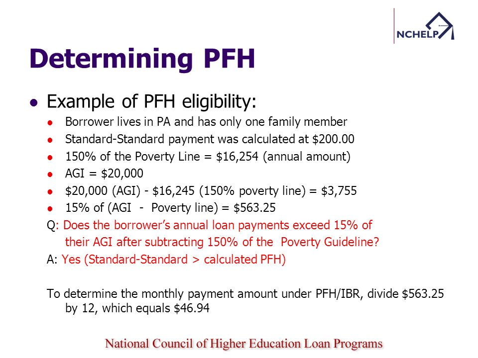 Determining PFH Example of PFH eligibility: