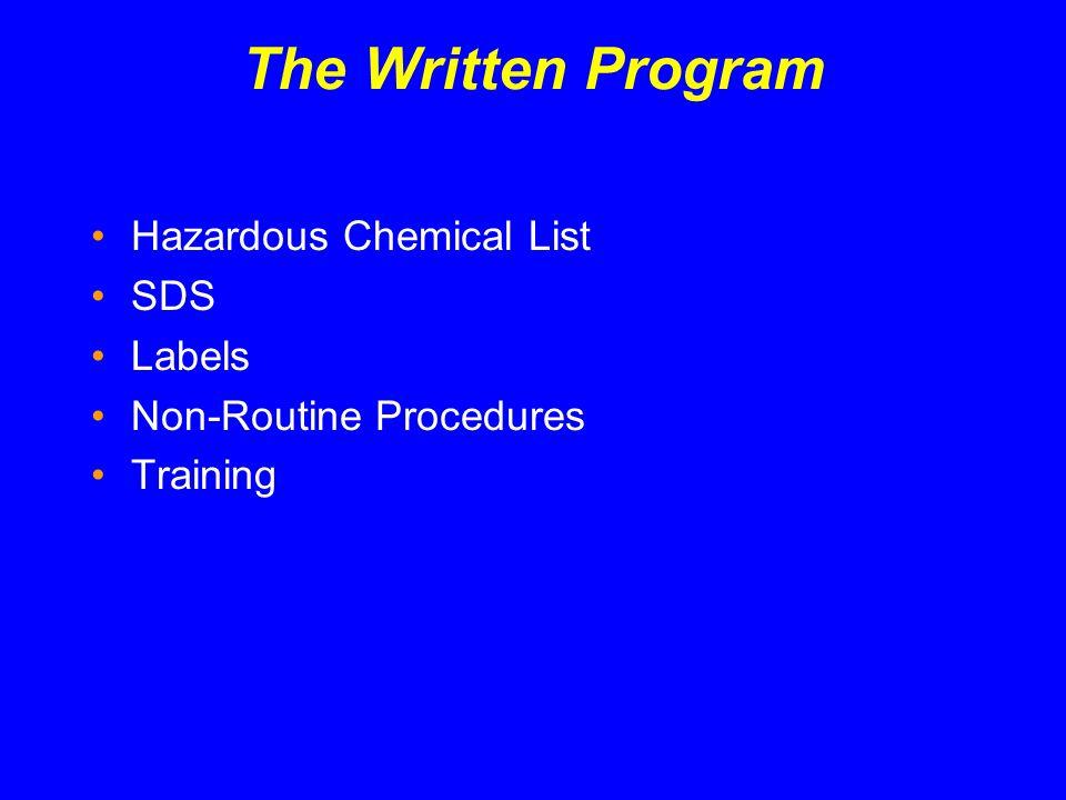 The Written Program Hazardous Chemical List SDS Labels