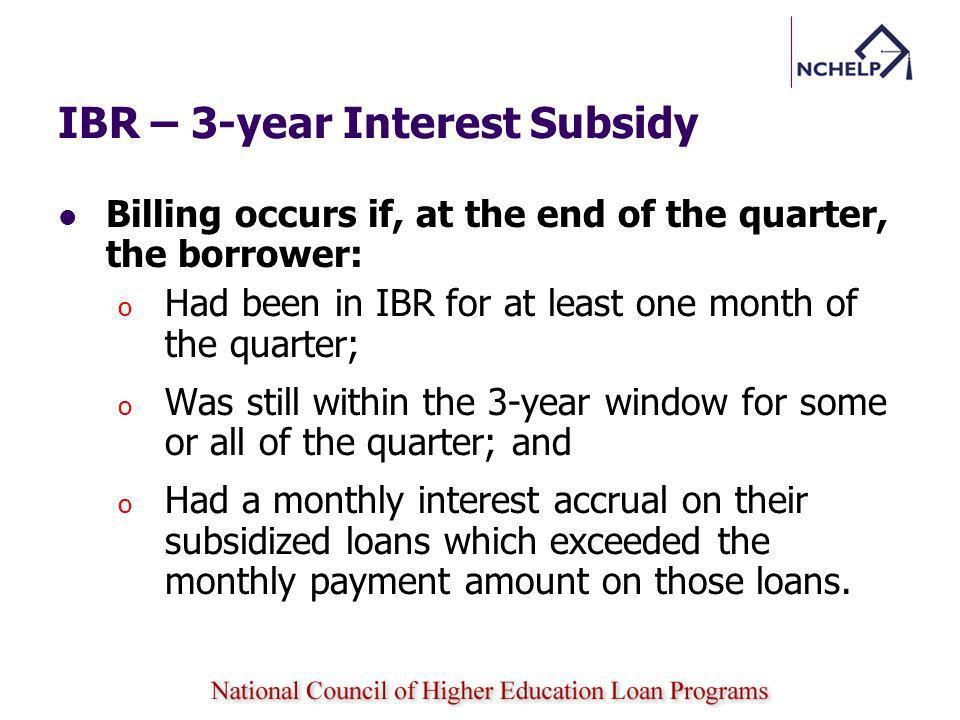 IBR – 3-year Interest Subsidy