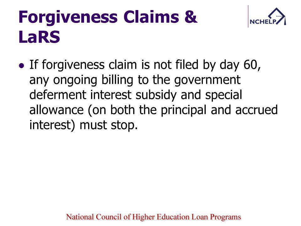 Forgiveness Claims & LaRS