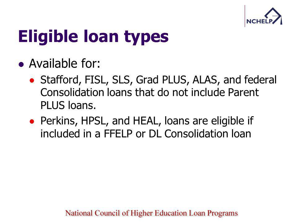 Eligible loan types Available for: