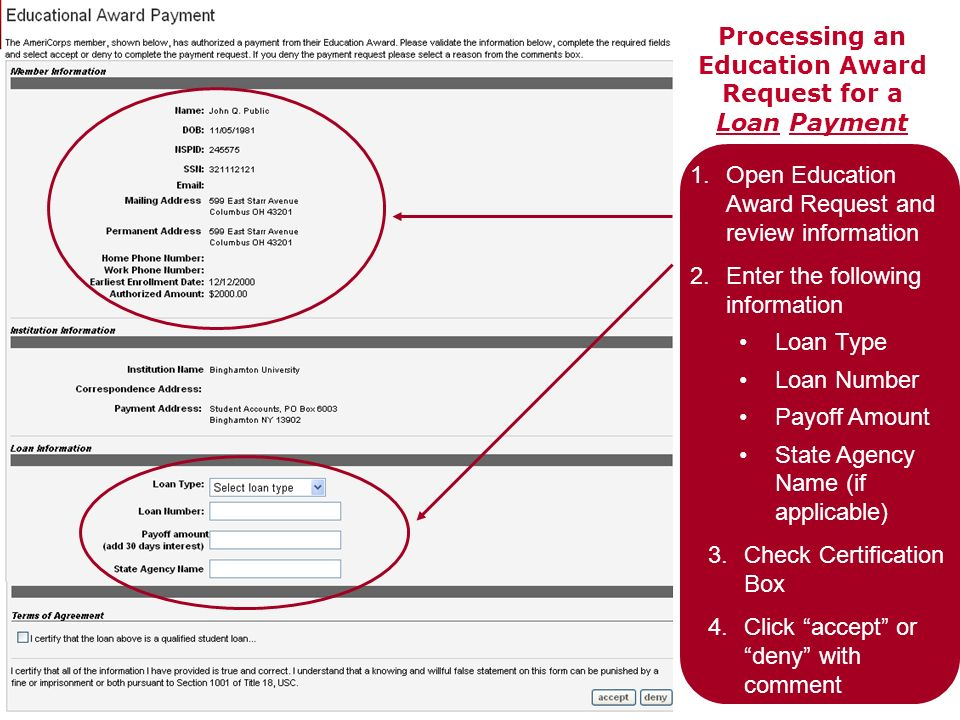 Processing an Education Award Request for a Loan Payment