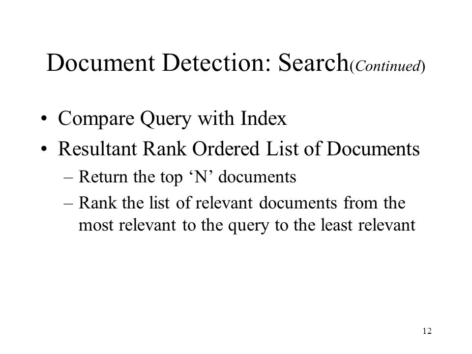 Document Detection: Search(Continued)