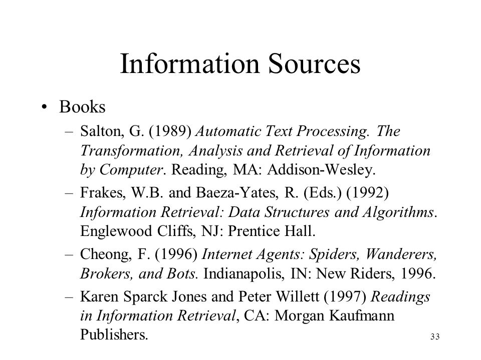 Information Sources Books