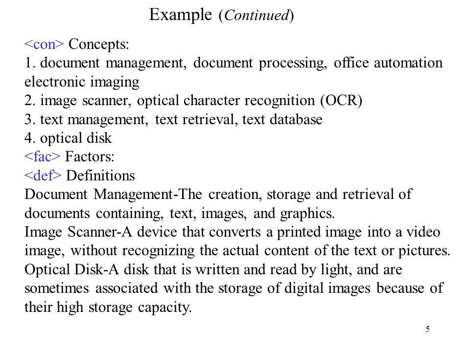 Example (Continued) <con> Concepts: