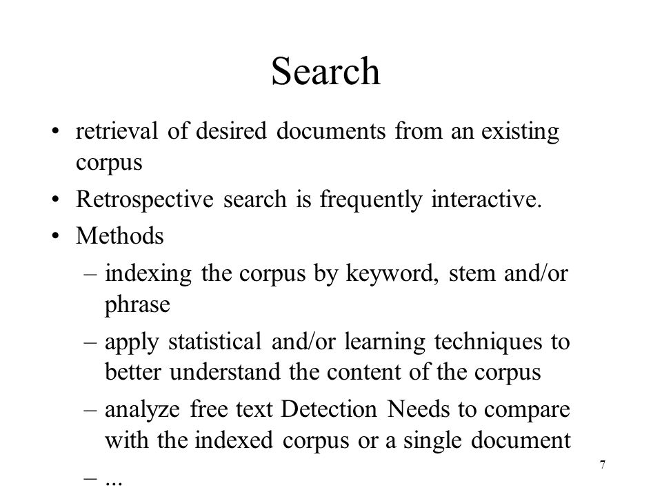 Search retrieval of desired documents from an existing corpus