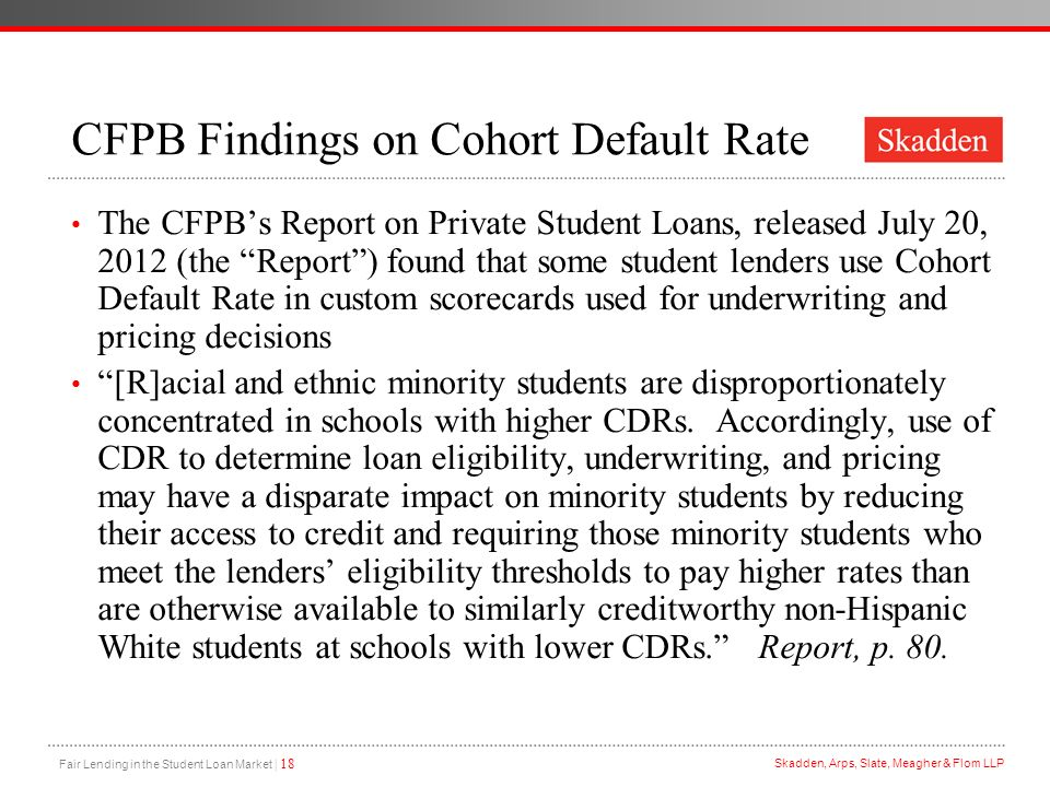 CFPB Findings on Cohort Default Rate