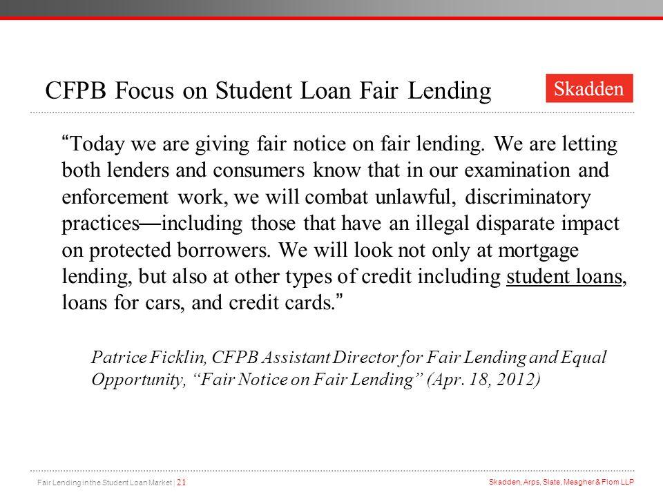 CFPB Focus on Student Loan Fair Lending