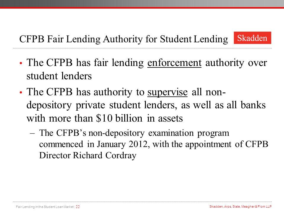 CFPB Fair Lending Authority for Student Lending