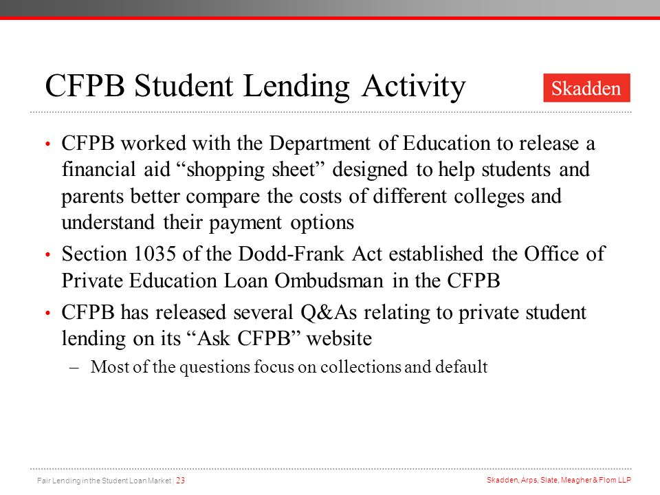 CFPB Student Lending Activity