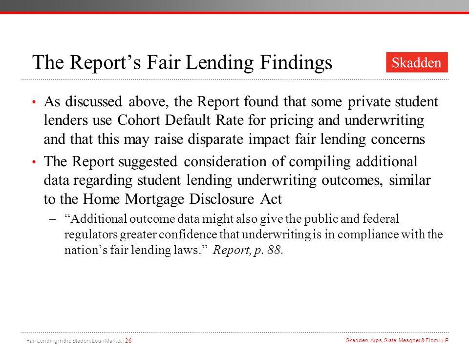 The Report's Fair Lending Findings