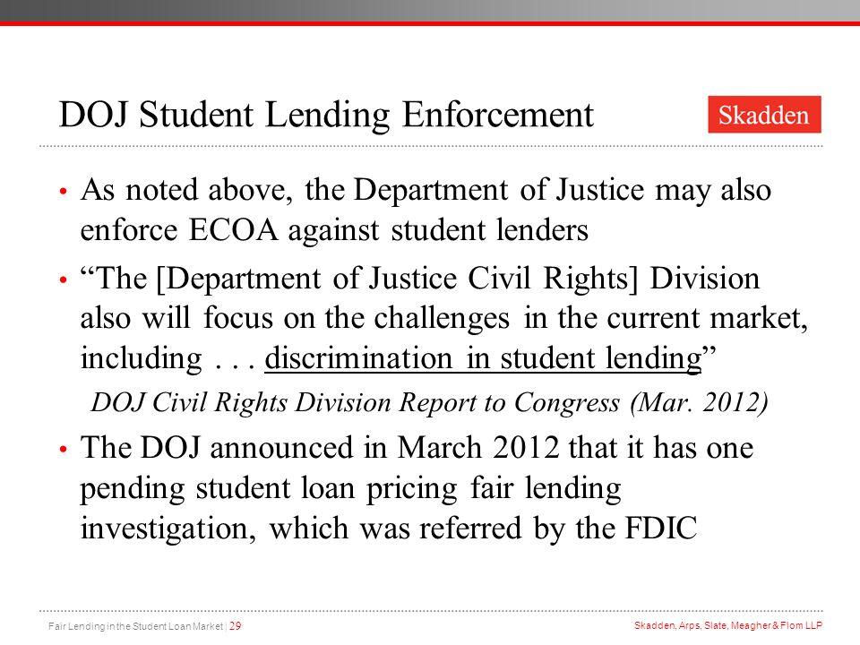 DOJ Student Lending Enforcement