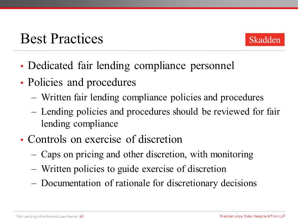 Best Practices Dedicated fair lending compliance personnel