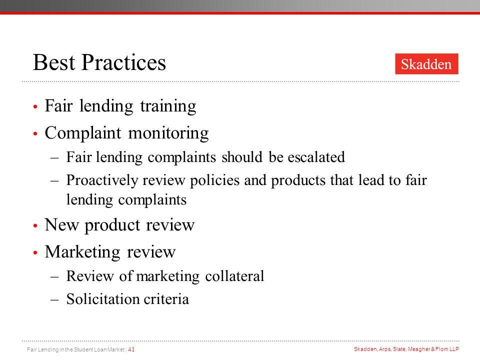 Best Practices Fair lending training Complaint monitoring