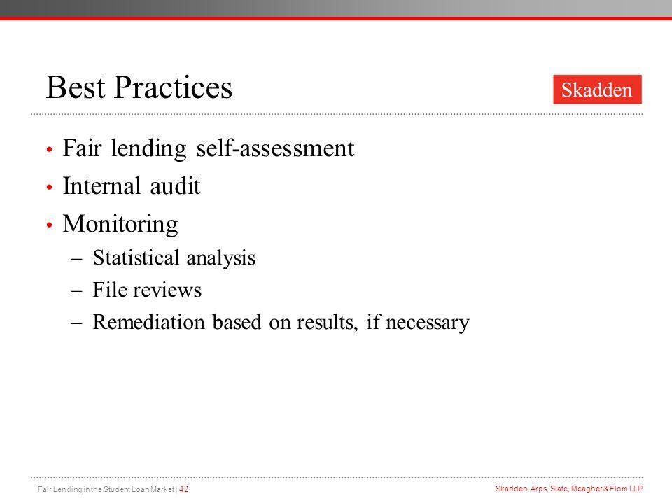 Best Practices Fair lending self-assessment Internal audit Monitoring