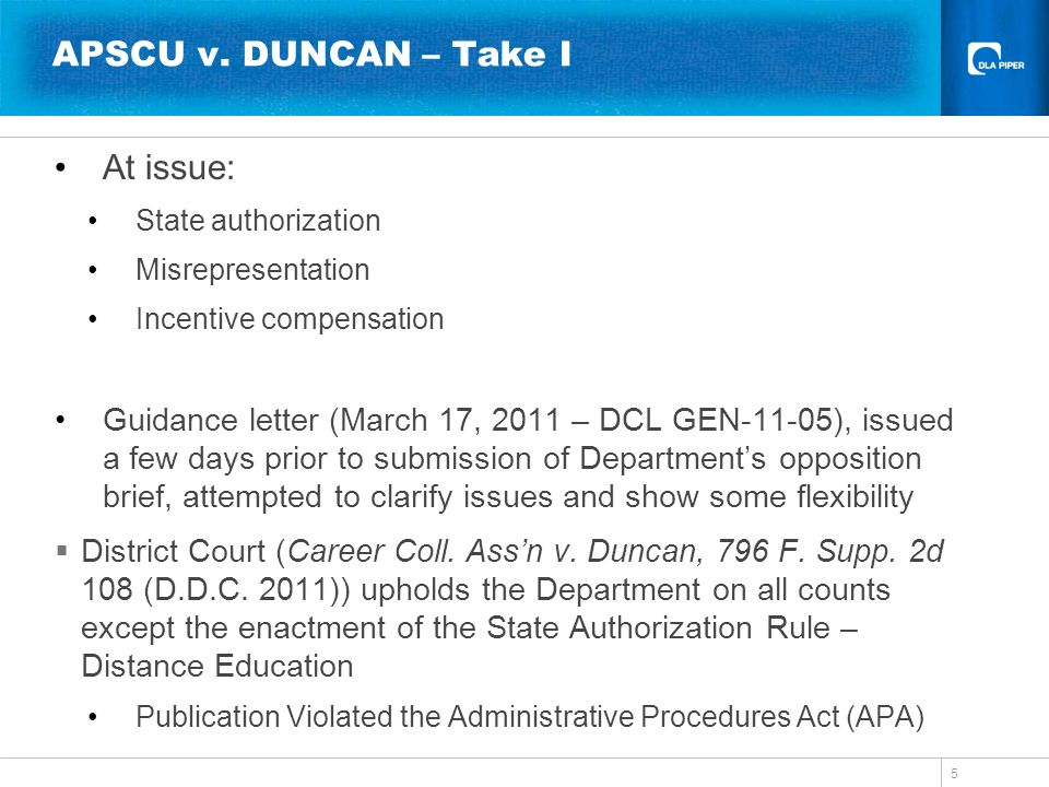 APSCU v. DUNCAN – Take I At issue: