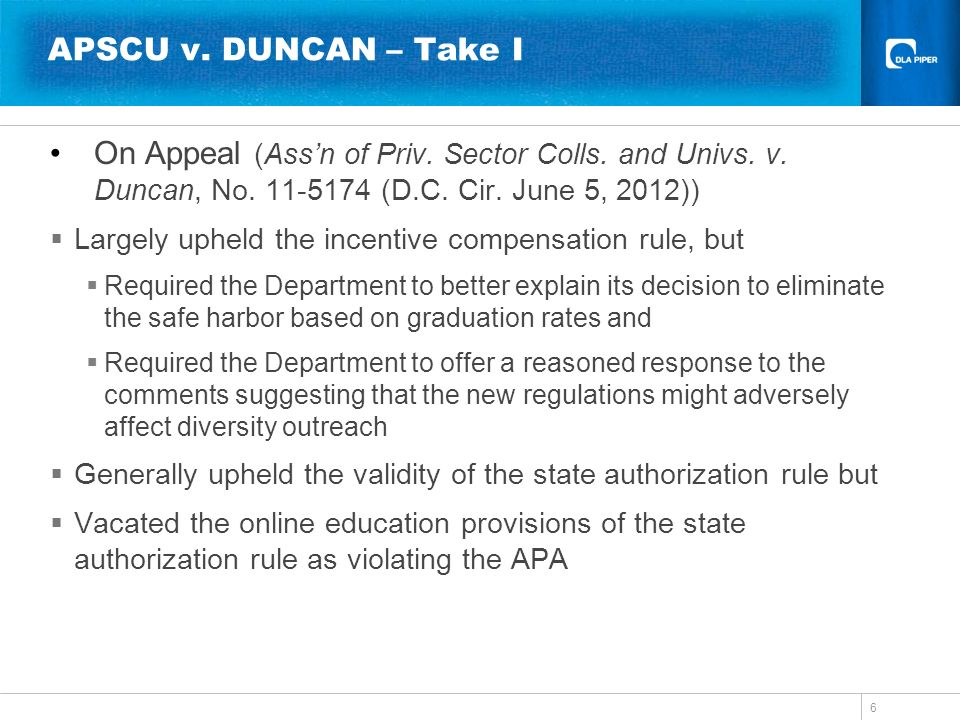 APSCU v. DUNCAN – Take I On Appeal (Ass'n of Priv. Sector Colls. and Univs. v. Duncan, No. 11-5174 (D.C. Cir. June 5, 2012))