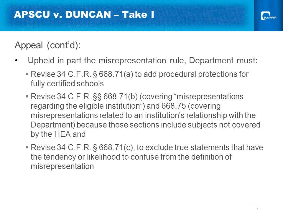 APSCU v. DUNCAN – Take I Appeal (cont'd):