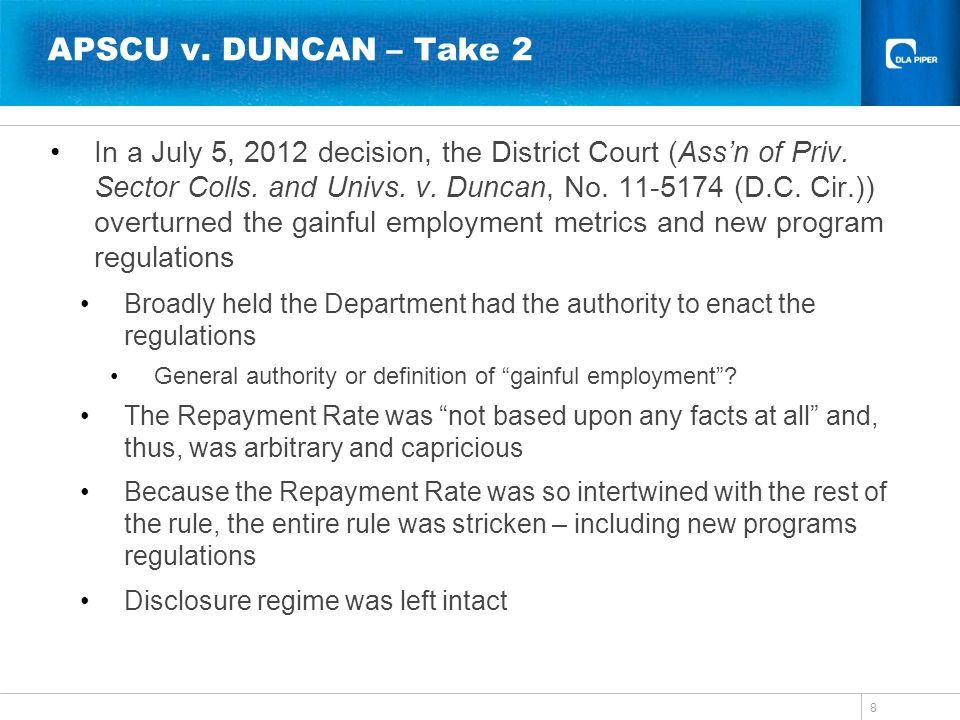 APSCU v. DUNCAN – Take 2