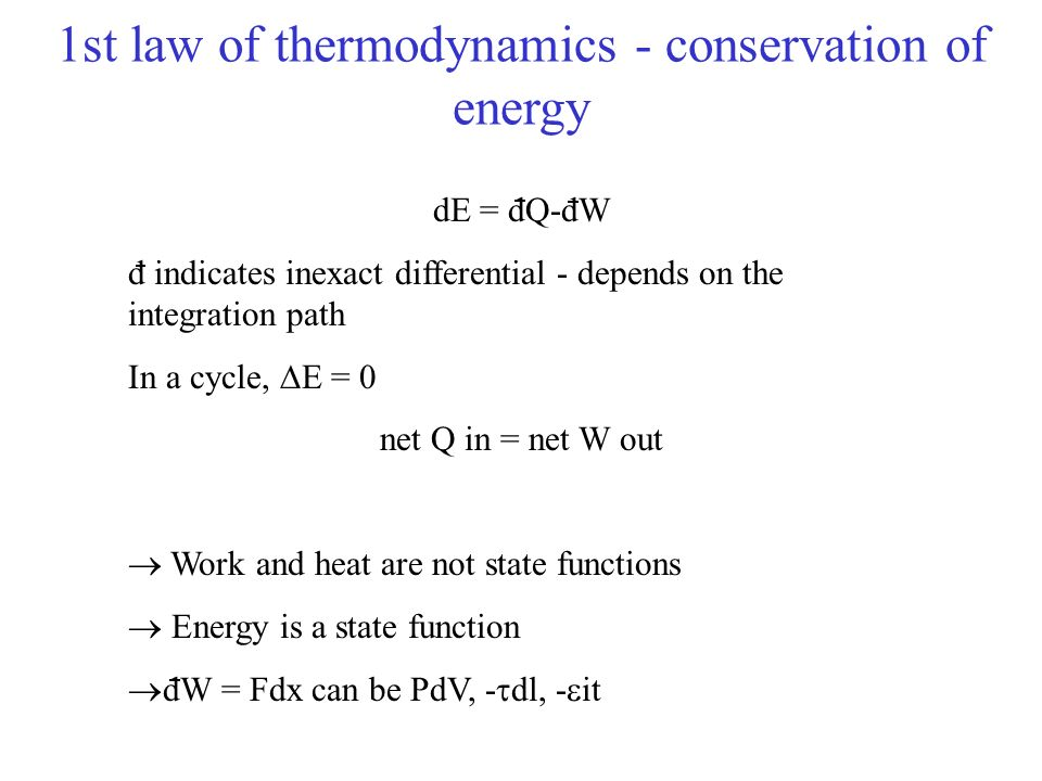 1st law of thermodynamics - conservation of energy