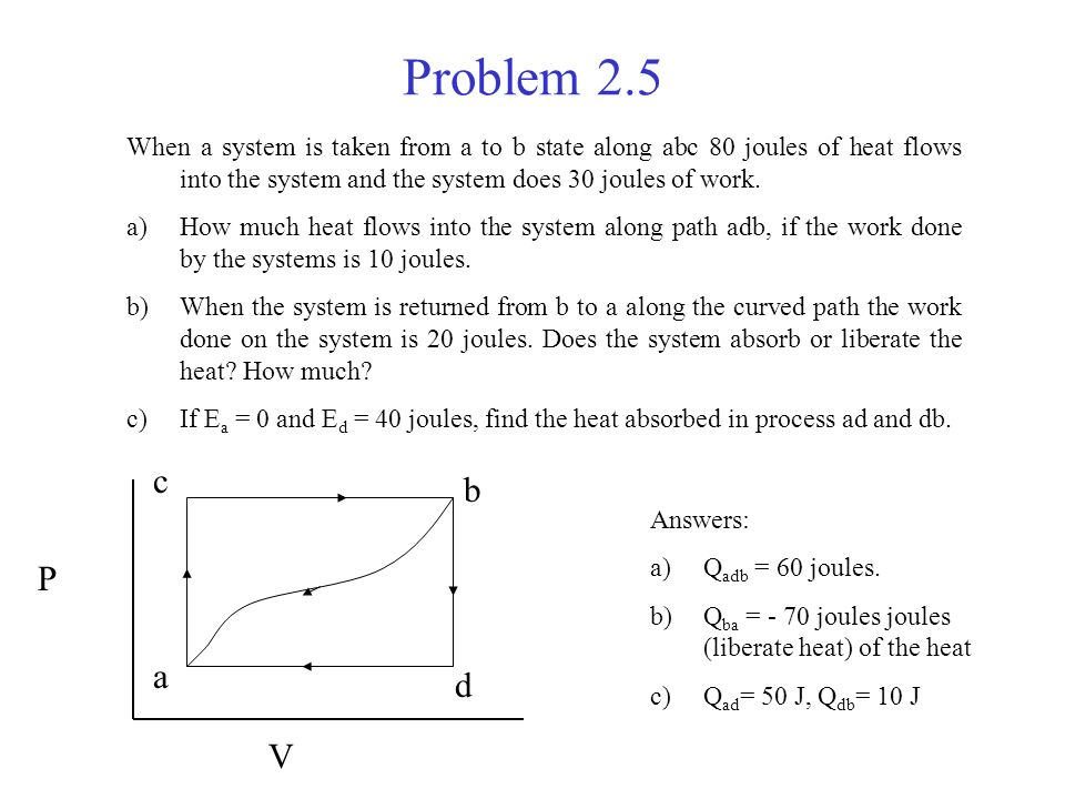 Problem 2.5 When a system is taken from a to b state along abc 80 joules of heat flows into the system and the system does 30 joules of work.