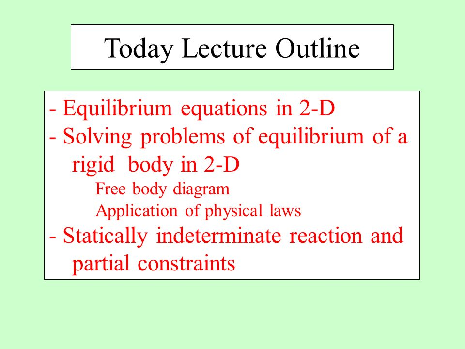 Today Lecture Outline - Equilibrium equations in 2-D