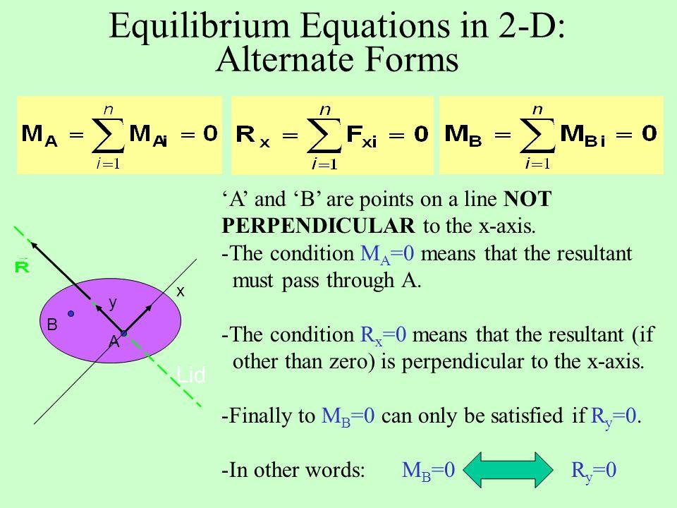 Equilibrium Equations in 2-D: Alternate Forms