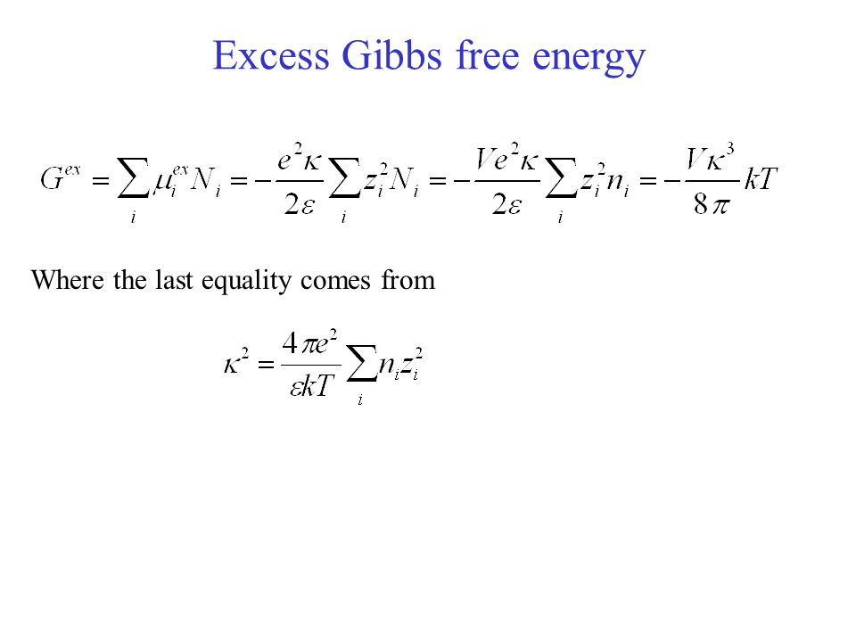 Excess Gibbs free energy