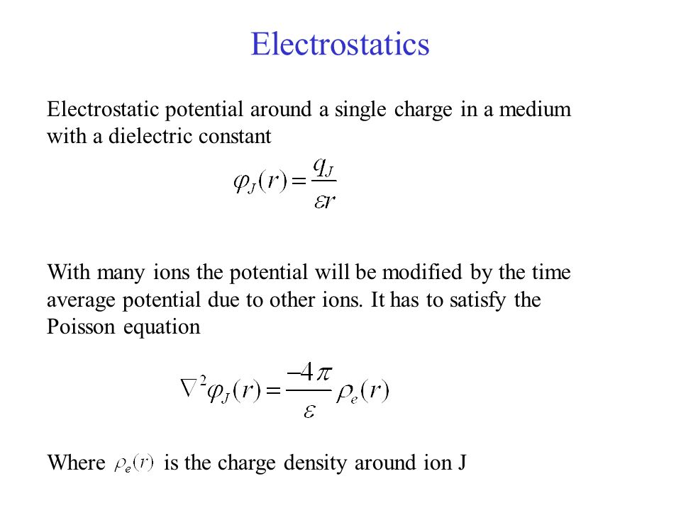 Electrostatics Electrostatic potential around a single charge in a medium with a dielectric constant.