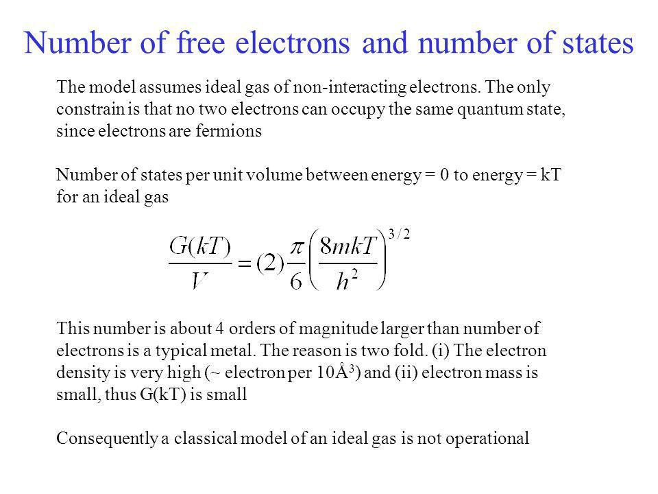 Number of free electrons and number of states