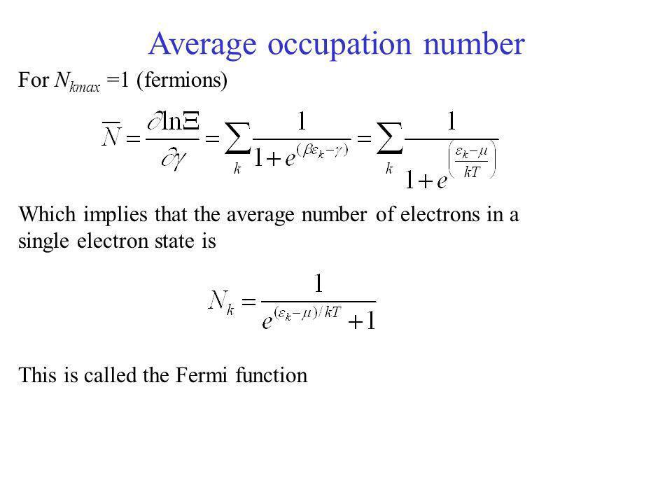Average occupation number