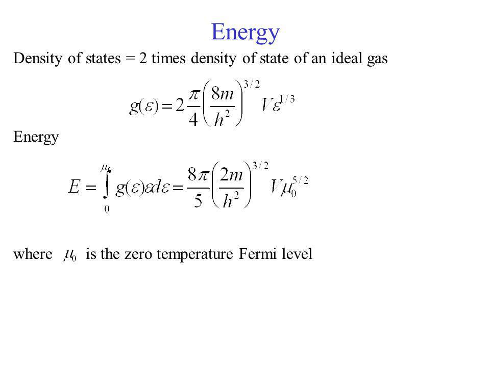Energy Density of states = 2 times density of state of an ideal gas