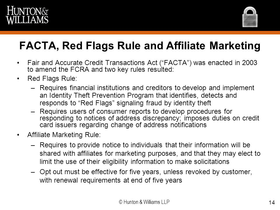FACTA, Red Flags Rule and Affiliate Marketing