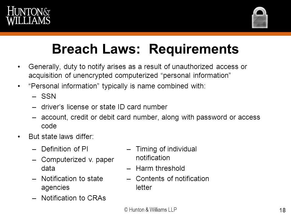 Breach Laws: Requirements