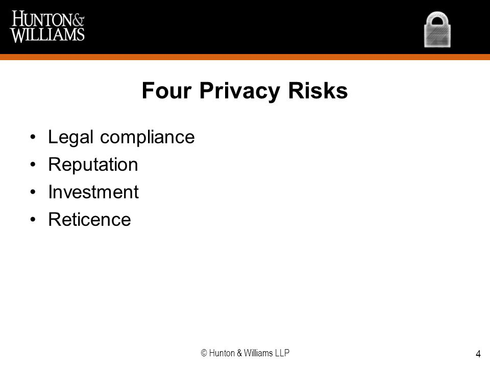 Four Privacy Risks Legal compliance Reputation Investment Reticence