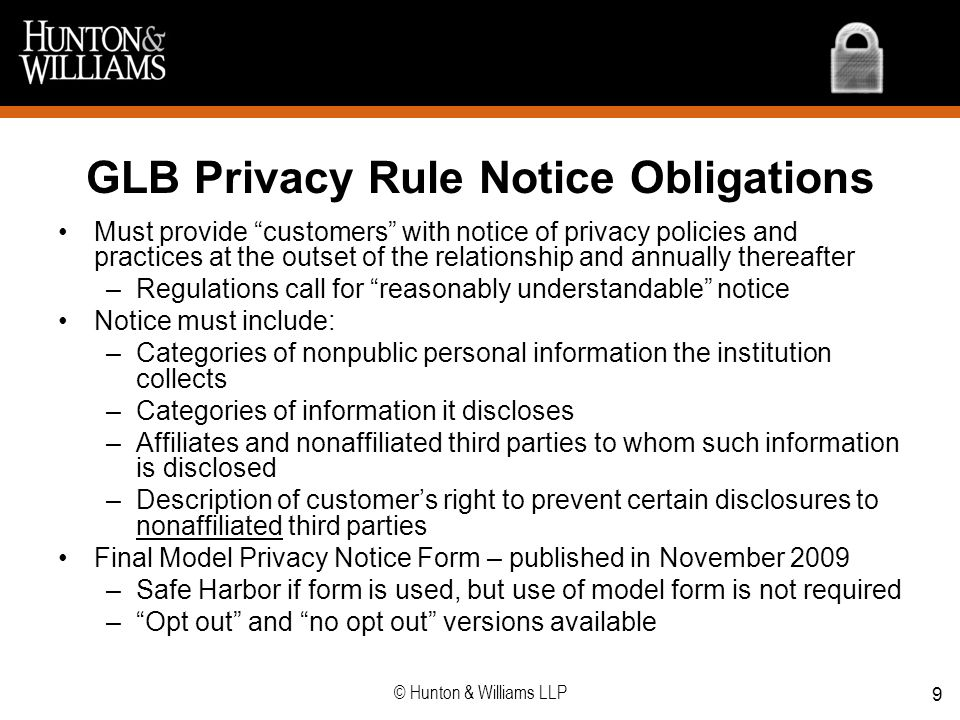 GLB Privacy Rule Notice Obligations